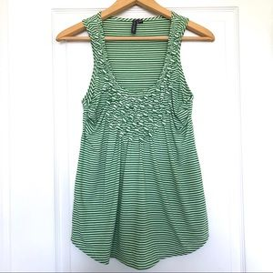 Anthropologie Green and White Stripe Tank Top